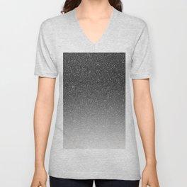 Elegant chic black silver gradient glitter Unisex V-Neck