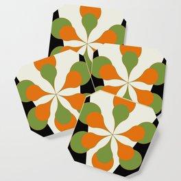 Mid-Century Modern Art 1.4 - Green & Orange Flower Coaster