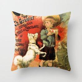Vintage French hot chocolate advert, boy, white dog Throw Pillow