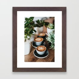 Latte + Plants Framed Art Print