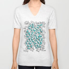 Oddgon and Angular Cluster in Turquoise Unisex V-Neck