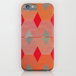 Mid-Century Diamond Warp Print, Coral Orange iPhone Case