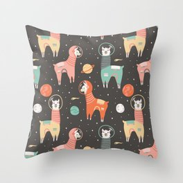 Astronaut Llamas in Space Throw Pillow
