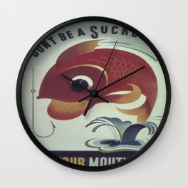 Vintage poster - Keep Your Mouth Shut Wall Clock