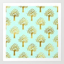 Mint Gold Foil 02 Art Print