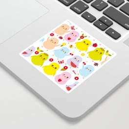 Kawaii colorful blue green orange pink yellow chick Sticker