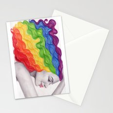 Rainbow Locks Stationery Cards