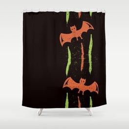 Grungy Retro Style Halloween Bats Shower Curtain