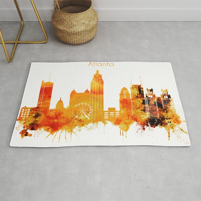 Atlanta Georgia Red Yellow Skyline Rug