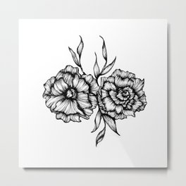 Two Inked Flowers Metal Print