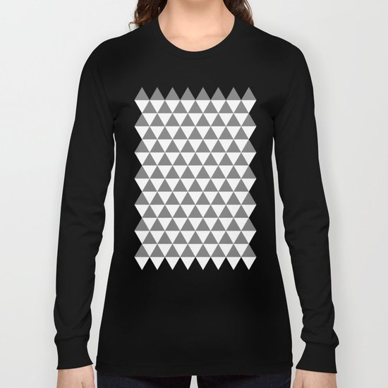 Triangles (Gray/White) Long Sleeve T-shirt