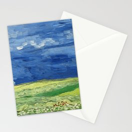 Wheatfield under thunderclouds by Vincent van Gogh Stationery Cards