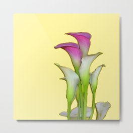 PURPLE & WHITE CALLA LILIES FLORAL YELLOW ART Metal Print