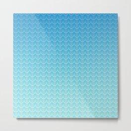 Aqua Ombre Waves Metal Print