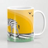zebra Mugs featuring Zebra by Nir P