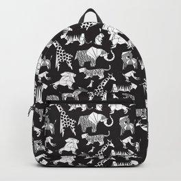 Origami safari animalier // black background white animals Backpack