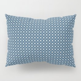 Off White Angled Polka Dot Grid Line Pattern on Blue - 2020 Color of the Year Chinese Porcelain Pillow Sham