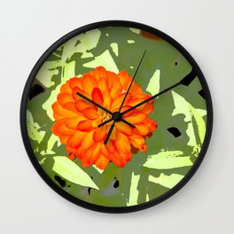 Orange Flower Abstract Wall Clock