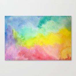 Pastel Rainbow Blur Watercolor Clouds Canvas Print