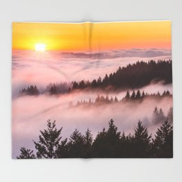 Bolinas Ridge Foggy Sunset Throw Blanket