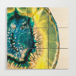 Blue and Yellow Agate Wood Wall Art