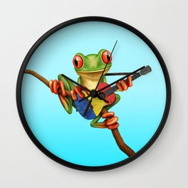 Tree Frog Playing Acoustic Guitar with Flag of Romania Wall Clock