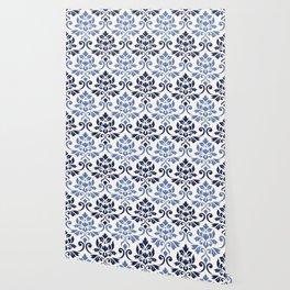 Feuille Damask Pattern Blues on Cream Wallpaper