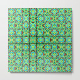 Kaleidoscope Quilt 2 - Green Metal Print