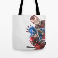 heroes Tote Bags featuring Heroes  by Molly Thomas