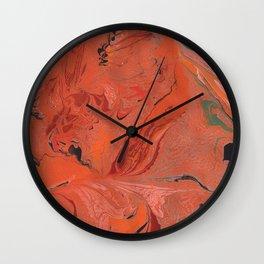 Marbling Ghost orange Wall Clock