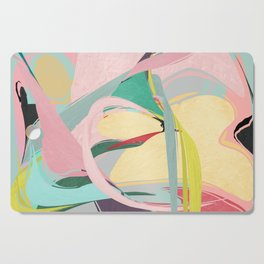Shapes and Layers no.23 - Abstract Draper pink, green, blue, yellow Cutting Board