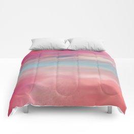 """Rose quartz sky on beach shore"" Comforters"