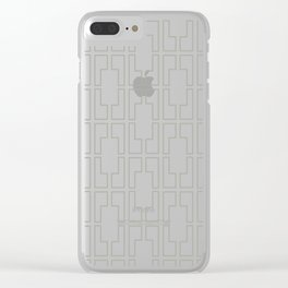 Simply Mid-Century Retro Gray on White Clear iPhone Case