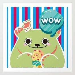 Ice Cream Cactus Ball Art Print