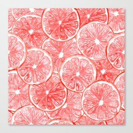 Watercolor grapefruit slices pattern Canvas Print