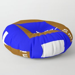 Ninja Square Blue and Brown Floor Pillow