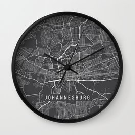 Johannesburg Map, South Africa - Gray Wall Clock