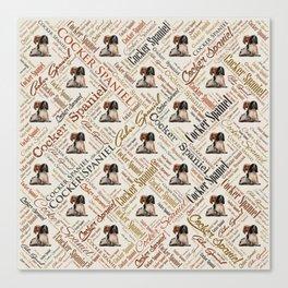 Cocker Spaniel Word Art Canvas Print