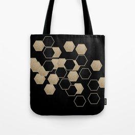 contemporary preppy scandinavian minimalist Black and gold hexagon Tote Bag