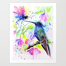 """Hummingbird kissing a Dragonfly"" Art Print"