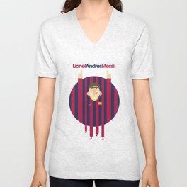 Lionel Messi Barcelona Illustration Print Unisex V-Neck