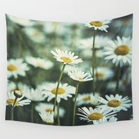 daisies Wall Tapestries featuring daisies by Bonnie Jakobsen-Martin