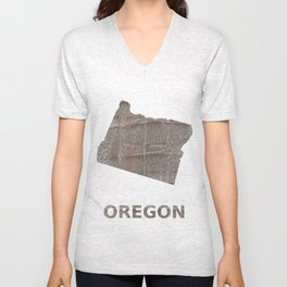 Oregon map outline Gray hand-drawn wash drawing Unisex V-Neck