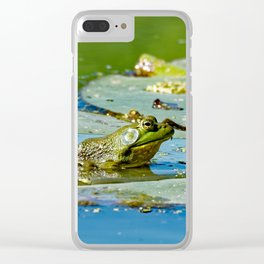 American Bullfrog on a Lily Pad Clear iPhone Case