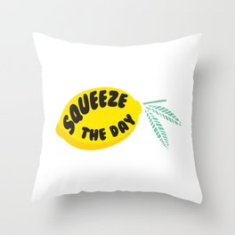 Squeeze The Day Lemon Throw Pillow