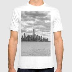 New York Cityscape B&W Mens Fitted Tee MEDIUM White