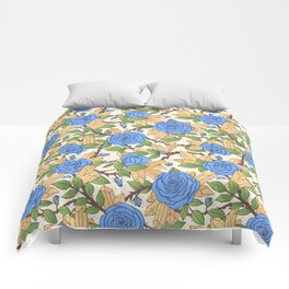 Blue Roses and Crystals Pattern Comforters