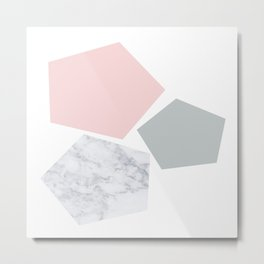Blush, gray & marble geo Metal Print