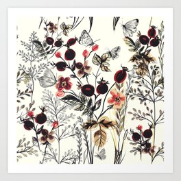 Watercolor autum berries and foliage Art Print