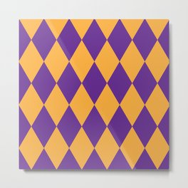 Purple and Gold Diamonds Metal Print